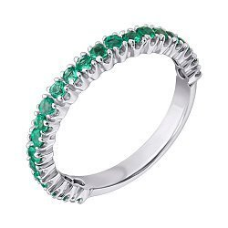 Серебряное кольцо с изумрудами 000022153