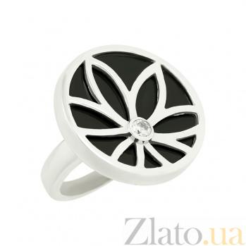 Серебряное кольцо с ониксом и цирконием Неонила 3К105-0036