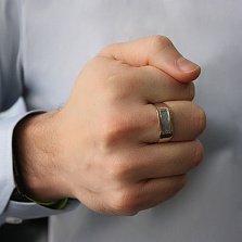 Мужская серебряная печатка с золотой вставкой Фикус