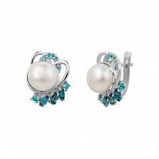 Серебряные серьги Диляна с жемчугом, топазами и голубыми фианитами