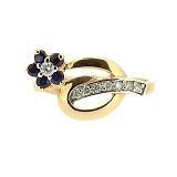 Золотое кольцо с сапфиром и бриллиантами Сильва