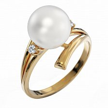 Золотое кольцо Амелия с жемчугом и бриллиантами