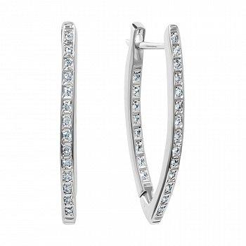 Серебряные серьги с инкрустацией фианитами на передней и задней поверхности 000116634