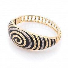 Дизайнерский браслет Магический вихрь в желтом золоте с черной эмалью