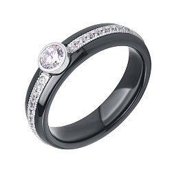 Кольцо из черной керамики и серебра с фианитами 000116831