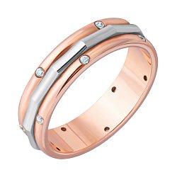 Золотое обручальное кольцо Счастливый союз в комбинированном цвете с фианитами