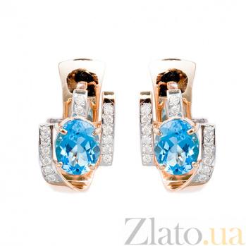 Золотые серьги с топазами и бриллиантами Эдема 000021744