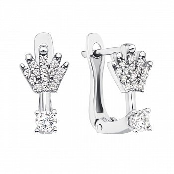 Серебряные серьги с коронами и фианитами 000133793