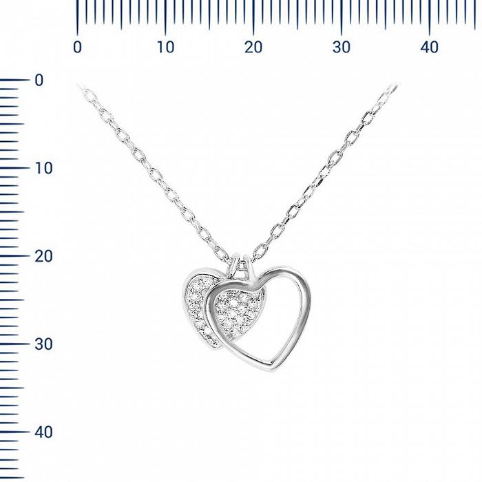 Серебряное колье Взаимная любовь с фианитами 000081688