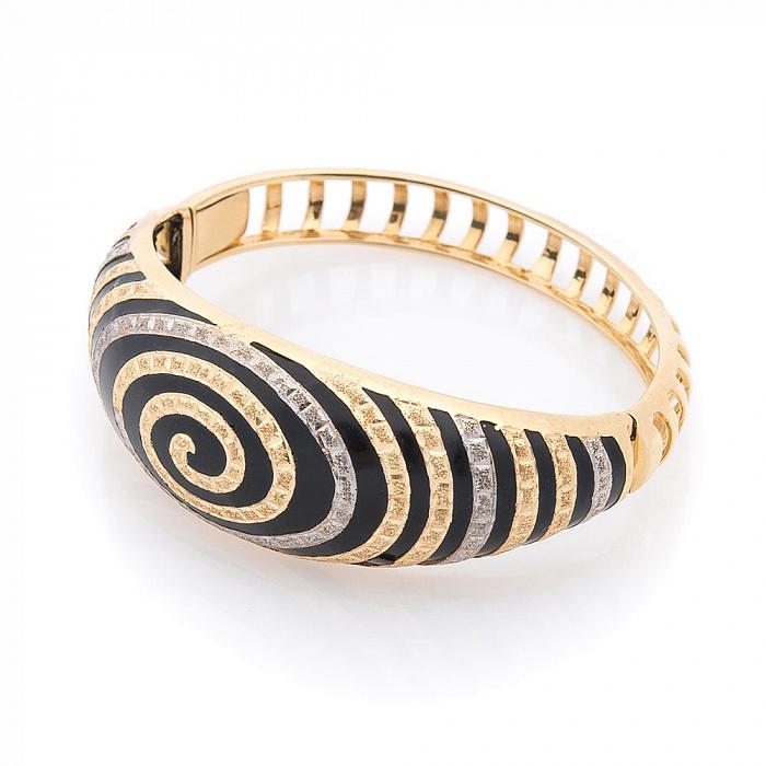 Дизайнерский браслет Магический вихрь в желтом золоте с черной эмалью 000082239
