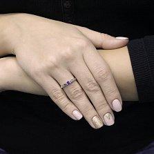 Золотое кольцо Неаполь в белом цвете с сапфиром