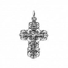 Серебряный ажурный крестик Вечная молитва с чернением