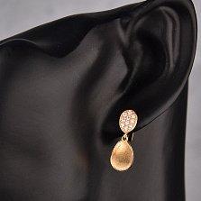 Серьги-подвески в красном золоте Таира с фианитами