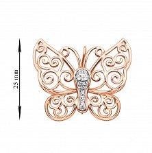 Золотая брошь Ажурная бабочка в комбинированном цвете с фианитами