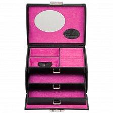 Маленькая черная шкатулка для украшений Merino Moda с зеркалом и розовой обивкой