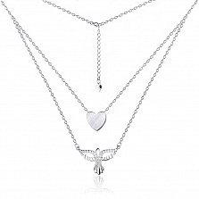 Серебряное многослойное колье Птица счастья с фианитами