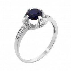 Серебряное кольцо с сапфиром и фианитами 000126654