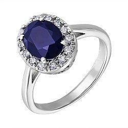Серебряное кольцо с сапфиром и фианитами 000132493