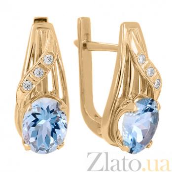 Золотые серьги с топазами и фианитами Айла VLN--113-708-1**