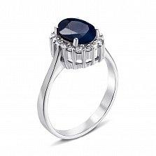 Серебряное кольцо с сапфиром и фианитами 000134873