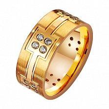 Золотое обручальное кольцо с фианитами Моя княгиня