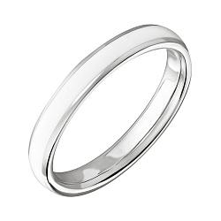 Обручальное кольцо в белом золоте Дорога счастья с белой эмалью 000064078
