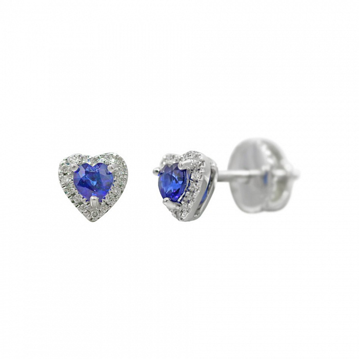 Серьги-пуссеты из белого золота Весенняя любовь с бриллиантами и сапфиром 000081163