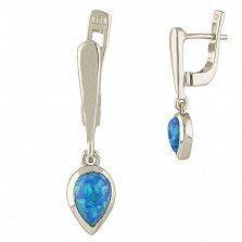 Серебряные серьги-подвески Дора с голубым опалом