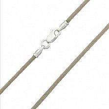 Шелковый шнурок Шампань с серебряной застежкой, 2мм