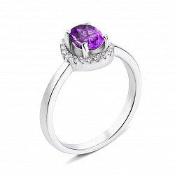 Серебряное кольцо с аметистом и фианитами 000135413