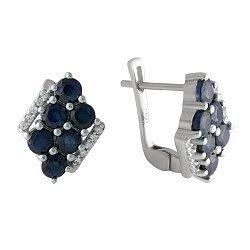 Серебряные серьги с сапфирами и цирконием 000128703