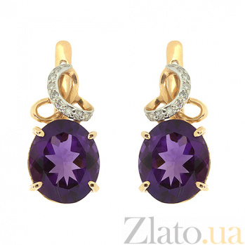 Золотые серьги с бриллиантами и аметистами Мара ZMX--EAm-6632_K