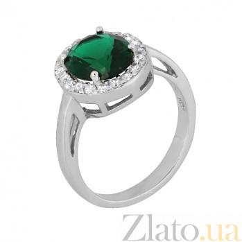 Серебряное кольцо с зеленым фианитом Афсана 000028319