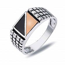 """Перстень печатка из серебра с золотом и обсидианом """"Герман"""""""