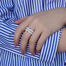 Кольцо из керамики и серебра Белая Венера с фианитами