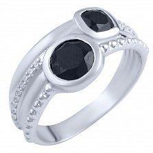 Кольцо из серебра Стеффи с ониксом и фианитами