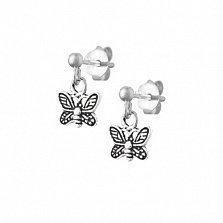Сережки из серебра Миниатюрные бабочки