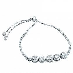 Серебряный браслет Зефирайн с кристаллами циркония