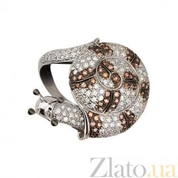 Кольцо из белого золота Улитка с фианитами VLT--ТТТ1089