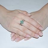 Серебряное кольцо с изумрудами Италиана