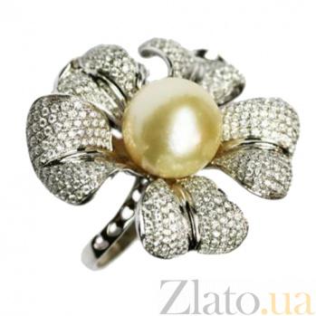 Золотое кольцо с жемчугом и бриллиантами Маргарет 000026901