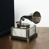 Серебряная авторская композиция Граммофон с перламутром, деревом и бриллиантом