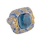Золотое кольцо с сапфирами и бриллиантами Vedana