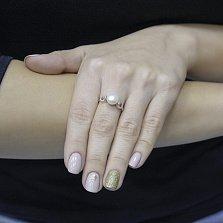 Кольцо из красного золота Манон с жемчугом и фианитами