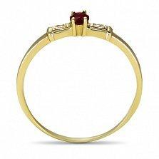 Золотое кольцо Секреты султана в желтом цвете с рубином и фианитами
