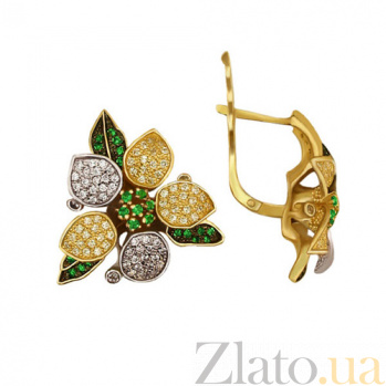Золотые серьги с зеленым и белым цирконием Жасмин VLT--ТТ274-1