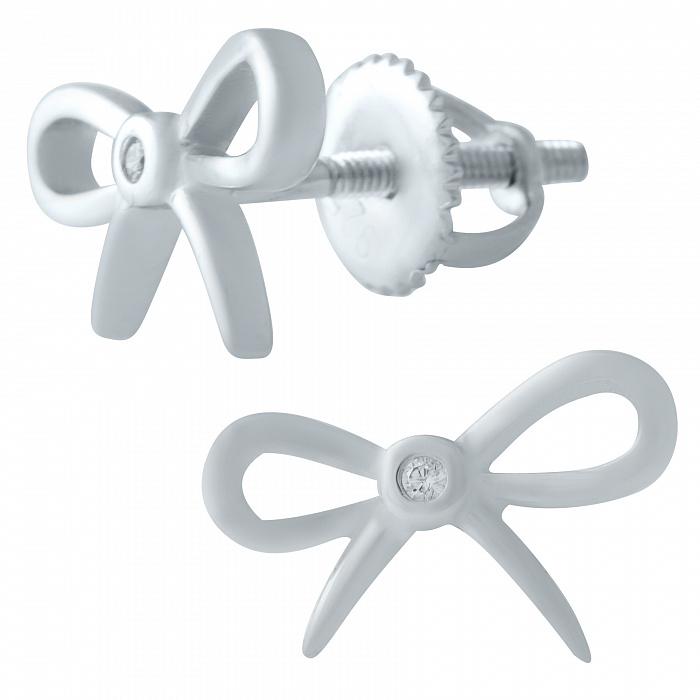 Серебряные серьги-пуссеты Милые бантики с завальцованными фианитами 000078079