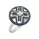 Золотое кольцо Зориана с бриллиантами и сапфирами