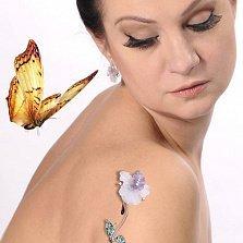 Золотые серьги с бриллиантами Орхидея