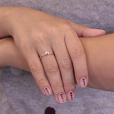 Золотое кольцо Диана с крученой шинкой и белым фианитом